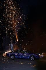 Ferrari 400i in flames