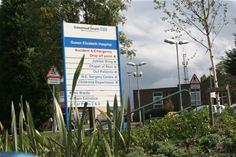 QE Gateshead Hospital Sign