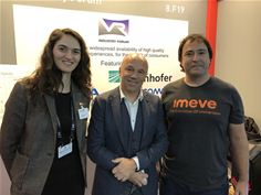 Simone Walter of Fraunhofer HHI, President of the VRIF, Rob Koenen and Devon Copley of Imeve at the VRIF stand at IBC2018