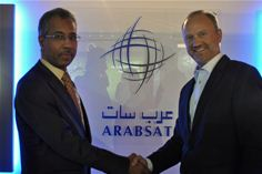 Khalid Balkheyour, CEO of Arabsat and Serge Van Herck, CEO of Newtec at IBC