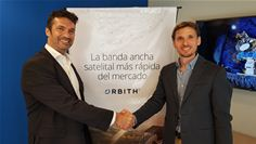 Regional Sales Director Fabián Burgos of Newtec (left) with Pablo Mosiul, CEO of Orbith