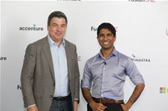 Simon Paris, CEO of Finastra and Arpan Gautam, Founder & CEO at revverbank at the recent FusionONE developer conference in London