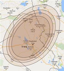 Arabsat 5C coverage in Iraq and Afghanistan