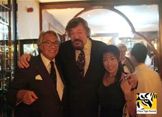 Sir David Tang with Stephen Fry and Li Quan