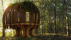 The Quiet Treehouse by Quiet Mark and John Lewis designed by Blue Forest Tree Houses - light