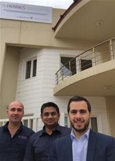 From left to right: Firas Kamil, Senior VSAT Engineer, Erbil; Navin Michael, Technical Project Manager, Middle East; and Osama Oulabi, Business Unit Manager, Middle East